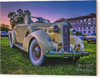 Vintage Lasalle Convertible Wood Print by Edward Fielding