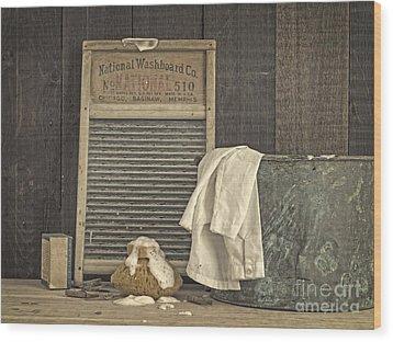 Vintage Laundry Room II By Edward M Fielding Wood Print by Edward Fielding