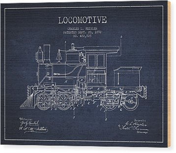 Vintage Locomotive Patent From 1892 Wood Print by Aged Pixel