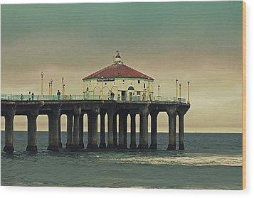 Vintage Manhattan Beach Pier Wood Print by Kim Hojnacki