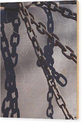 Vintage Metal Chains Wood Print by Ann Powell