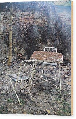 Vintage Metal Chairs In The Backyard Wood Print by Vlad Baciu