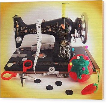 Vintage Mini Sewing Machine Wood Print