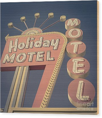 Vintage Motel Sign Square Wood Print by Edward Fielding