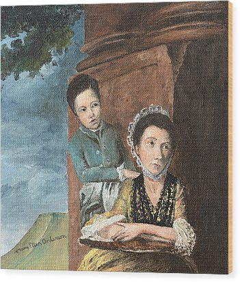 Vintage Mother And Son Wood Print by Mary Ellen Anderson