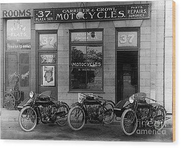 Vintage Motorcycle Dealership Wood Print