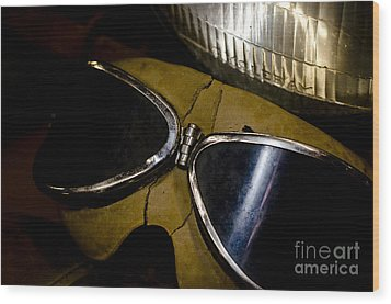Vintage Motorcycle Goggles Wood Print by Wilma  Birdwell