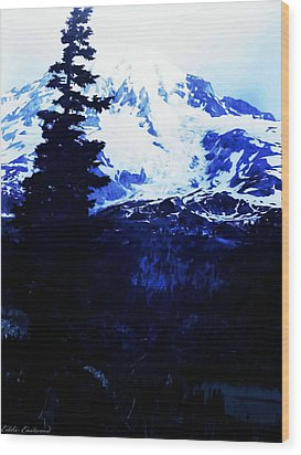 Wood Print featuring the photograph Vintage Mount Rainier And Reflexion Lake In The Foreground Early 1900 Era... by Eddie Eastwood