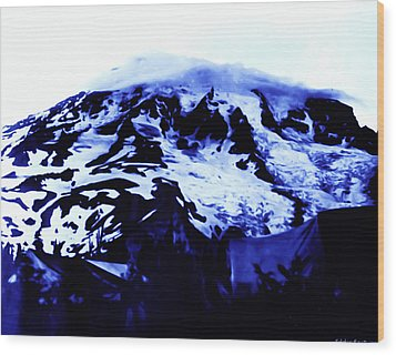 Wood Print featuring the photograph Vintage Mount Rainier At Twilight Early 1900 Era... by Eddie Eastwood