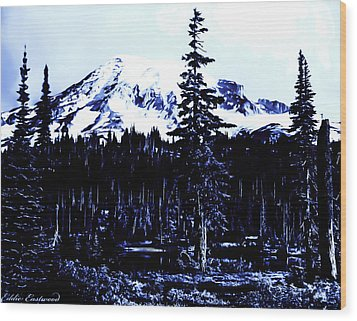 Wood Print featuring the photograph Vintage Mount Rainier Early 1900 Era... by Eddie Eastwood