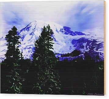 Wood Print featuring the photograph Vintage Mount Rainier From Pinnacle Peak Early 1900 Era... by Eddie Eastwood