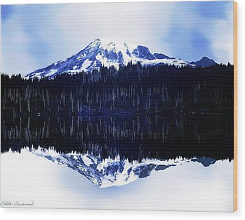 Vintage Mount Rainier From Reflection Lake Early 1900 Era... Wood Print