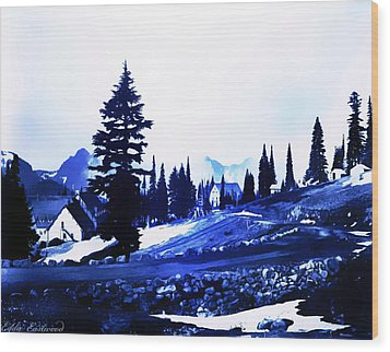 Vintage Mount Rainier Lodge Early 1900 Era... Wood Print by Eddie Eastwood