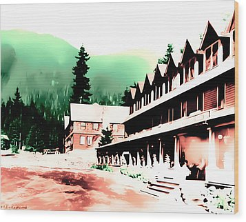 Wood Print featuring the photograph Vintage Mount Rainier National Park Inn Early 1900 Era... by Eddie Eastwood