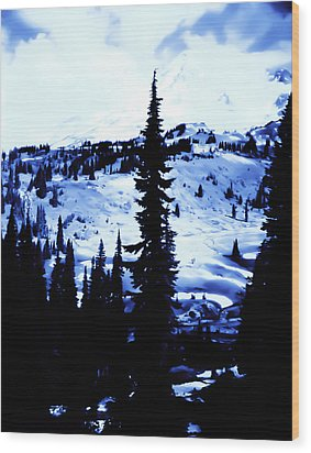 Wood Print featuring the photograph Vintage Mount Rainier With Camp Grounds In The Distance Early 1900 Era... by Eddie Eastwood