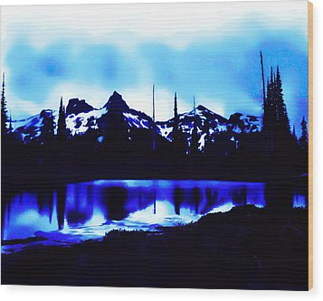 Wood Print featuring the photograph Vintage Mount Rainier With Longmire Springs In The Foreground Early 1900 Era... by Eddie Eastwood