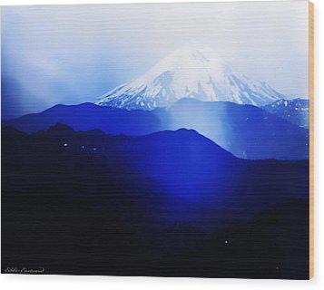 Wood Print featuring the photograph Vintage Mount St. Helens From Pinnacle Peak Early 1900 Era... by Eddie Eastwood