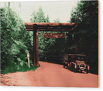 Wood Print featuring the photograph Vintage Mt.rainier National Park Entrance Early 1900 Era... by Eddie Eastwood
