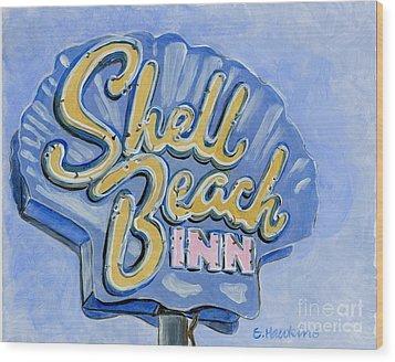 Vintage Neon- Shell Beach Inn Wood Print by Sheryl Heatherly Hawkins