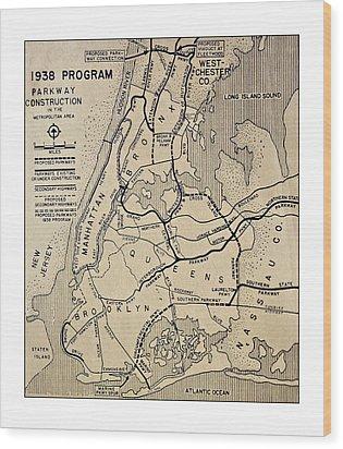 Vintage Newspaper Map Wood Print