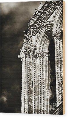 Vintage Notre Dame Details Wood Print by John Rizzuto