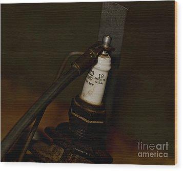Vintage Number 18 Spark Plug Wood Print by Wilma  Birdwell