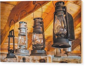 Vintage Oil Lanterns Wood Print