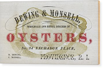 Vintage Oyster Dealers Trade Card Wood Print