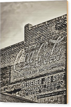Vintage Painted Signage On Building Wood Print