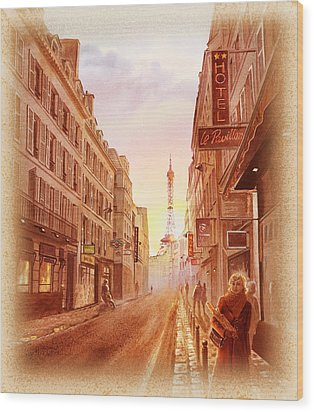 Wood Print featuring the painting Vintage Paris Street Eiffel Tower View by Irina Sztukowski