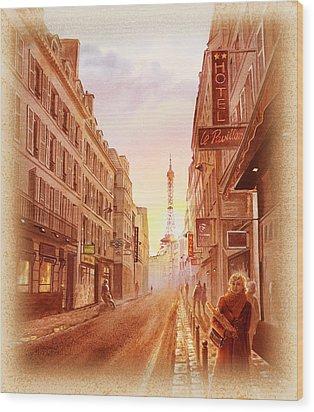 Vintage Paris Street Eiffel Tower View Wood Print by Irina Sztukowski
