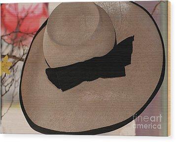 Vintage Picture Hat Wood Print by Kathleen Struckle