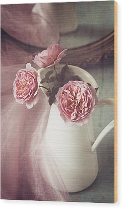 Vintage Pink Wood Print by Amy Weiss