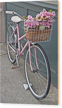 Vintage Pink Bicycle With Pink Flowers Art Prints Wood Print