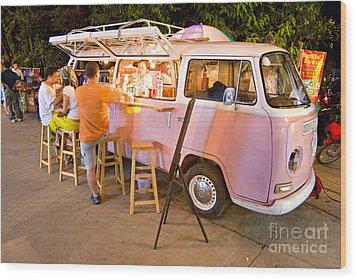 Vintage Pink Volkswagen Bus Wood Print by Luciano Mortula
