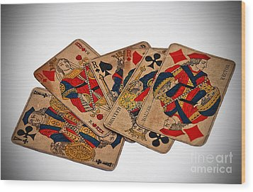 Vintage Playing Cards Art Prints Wood Print by Valerie Garner