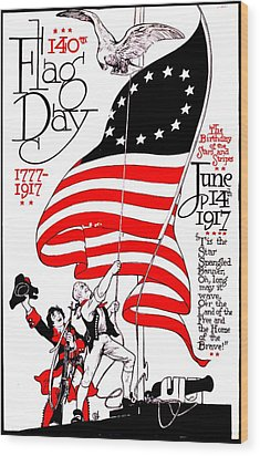 Vintage Poster - America - Flag Day 1917 Wood Print by Benjamin Yeager