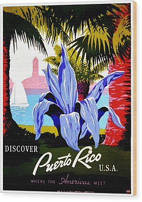Vintage Poster - Puerto Rico Wood Print by Benjamin Yeager