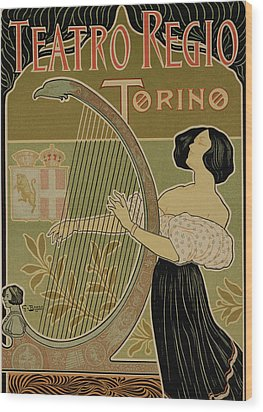 Vintage Poster Advertising The Theater Royal Turin Wood Print by Italian School