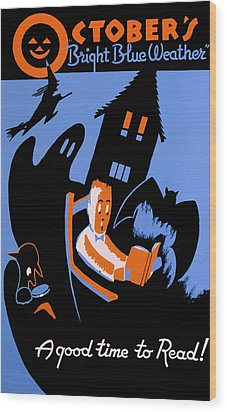 Vintage Poster - Reading - October Wood Print by Benjamin Yeager