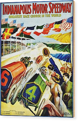 Vintage Poster - Sports - Indy 500 Wood Print by Benjamin Yeager