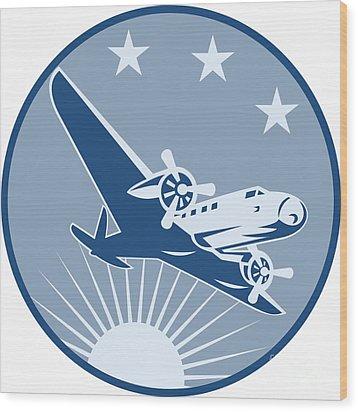 Vintage Propeller Airplane Retro Wood Print by Aloysius Patrimonio