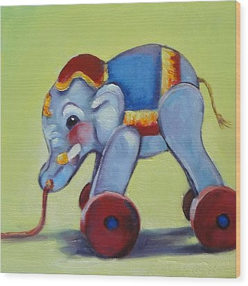 Vintage Pull Toy Series Elephant Wood Print by Kelley Smith