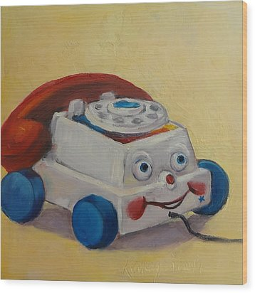 Vintage Pull Toy Series Phone Wood Print by Kelley Smith