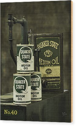 Vintage Quaker State Motor Oil Wood Print by Betty Denise