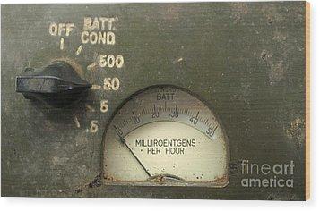 Vintage Radiation Meter Wood Print by Yali Shi