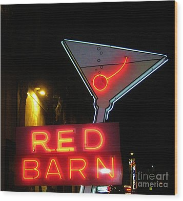Vintage Red Barn Neon Sign Las Vegas Wood Print by John Malone