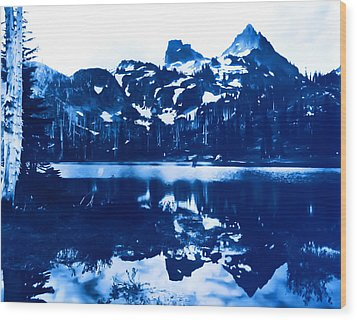 Wood Print featuring the photograph Vintage Reflection Lake  With Ripples Early 1900 Era... by Eddie Eastwood