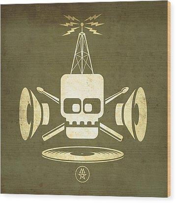 Wood Print featuring the digital art Vintage Rock Transmission by Milton Thompson