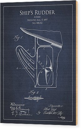 Vintage Rudder Patent Drawing From 1887 Wood Print by Aged Pixel